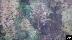 Foto yang dirilis BASARNAS (17/8) menunjukkan puing-puing pesawat Trigana Air Service yang jatuh di Oksibil, Papua.