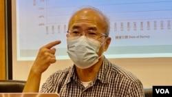 劉銳紹表示難以從法律角度分析事件,認為港人應不斷發聲希望可以將12人交回香港受審。 (美國之音 湯惠芸拍攝)