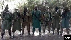 Imam Abubakar Shekau a tsakiyar wasu mayaka na Kungiyar Boko Haram