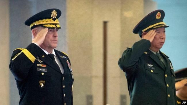 美中两军现任参谋长首次通话 谋求缓和香港人权法紧张气氛