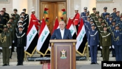 Iraqi Prime Minister Haider al-Abadi delivers speech in Baghdad, Dec. 9, 2017.