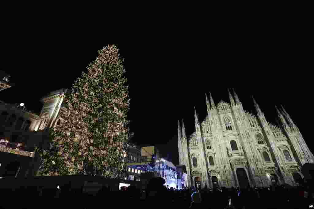گردهمایی مردم مقابل درخت کریسمس چراغانی شده در نزدیکی کلیسای جامع میلان ایتالیا