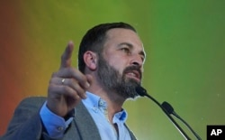 FILE - Spain's far-right Vox Party President Santiago Abascal takes part in a rally during regional elections in Andalusia, in Seville, Spain, Dec. 2, 2018.