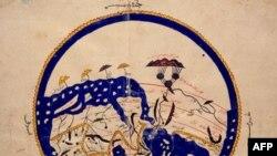 Dunyo xartiasi, jahongashta olim al-Idrisi tomonidan XII asrda bitilgan