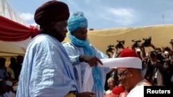 Nadin Sauratar tsohon Ministan tsaron Najeriya, Theophilus Danjuma in Zaria, Kaduna State.