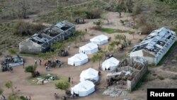 Tents belonging to aid organizations are seen after Cyclone Idai at Guara Guara village outside Beira, Mozambique, March 22, 2019.