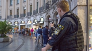 Police secures the area near Stachus square in Munich, July 22, 2016, following shooting rampage.