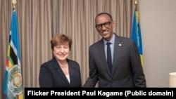 Perezida w'u Rwannda Paul Kagame na Kristalina Georgieva wa FMI
