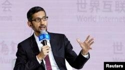 谷歌CEO桑德爾皮查伊在中國烏鎮出席第四屆世界互聯網大會時講話。(2017年12月3日)