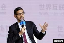 谷歌公司首席执行官皮查伊在中国浙江乌镇举行的世界互联网大会的分组讨论会上讲话(12月3日)