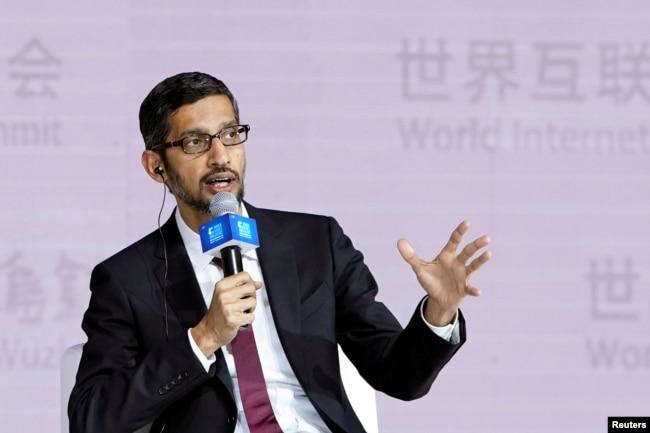 谷歌CEO皮查伊在中國烏鎮出席第四屆世界互聯網大會時講話。 (2017年12月3日)