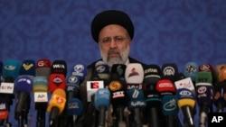 Iran's President-elect Ebrahim Raisi speaks during a press conference in Tehran, Iran, June 21, 2021.