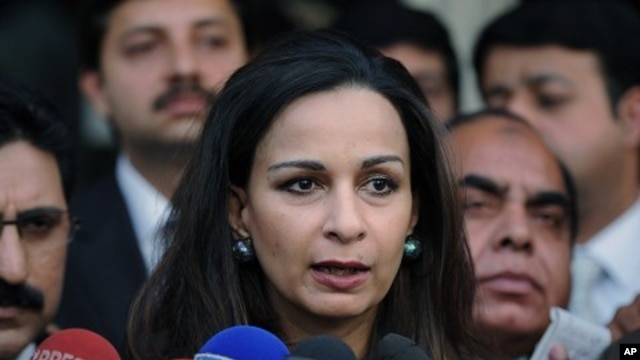 Pakistan's former Information Minister Sherry Rehman talks to reporters in Islamabad, Pakistan, November 23, 2011.