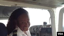 Rutendo Barna preparing to take off in a small private training plane. (Photo: VOA)