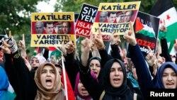 Những người thân Palestine biểu tình tại Thổ Nhĩ Kỳ phản đối hành động quân sự của Israel.