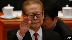 中共前国家主席江泽民在第18届共产党代表大会开幕式