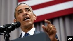 Le président Barack Obama prononçant un discours sur l'accord nucléaire avec l'Iran, le 5 aout 2015, au American University, à Washington.