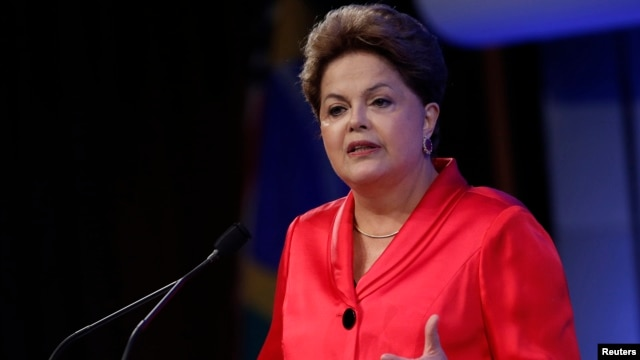 Dilma Rousseff, President of Brazil, delivers a speech at the Brazil Infrastructure Opportunity event in New York, Sept. 25, 2013.