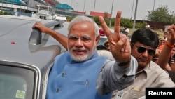 印度總理當選人莫迪受到支持者熱烈歡迎
