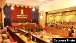 The approval of draft law on Associations and Non-Governmental Organizations at 7th session in Senate of Cambodia, and has been approved by 44 votes of all senators on July 24, 2015. (Photo provided by: the Senate)