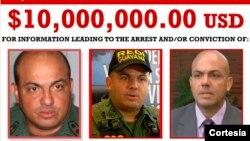 Cartel de 'se busca' del exgeneral venezolano Cliver Alcalá, por quien EE.UU. llegó a ofrecer una recompensa de diez millones de dólares el pasado jueves.