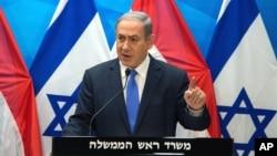 以色列总理内塔尼亚胡在耶路撒冷的一个记者会上讲话 (2015年7月14日)