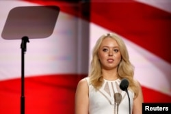 Donald Trump's daughter Tiffany Trump prepares to speak at the Republican Convention in Cleveland on July 19, 2016. (Reuters)