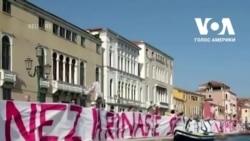 Протест у Венеції за врегулювання туризму. Відео