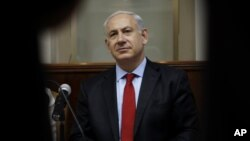 Israel's Prime Minister Benjamin Netanyahu attends the weekly Cabinet meeting in Jerusalem, June 10, 2012.