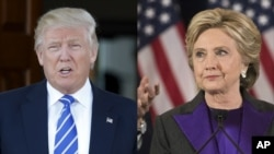 FILE - President-elect Donald Trump and his former rival Hillary Clinton are seen in a combination photo. Even though Clinton lost the Electoral College vote to Trump, she leads him in the popular vote by 2,017,563 votes, a number that could still grow.