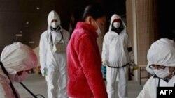 방사능 누출 검사를 받고있는 일본의 한 소년