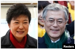 A combination photograph shows South Korea's President Park Geun-hye of conservative and right wing ruling Saenuri Party, and Moon Jae-in, former human rights lawyer and presidential candidate of the main opposition Democratic United Party.