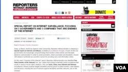 """無國界記者組織發佈""""互聯網之敵""""報告指出中國等5個國家是互聯網敵人,對人權造成很大危害。(網絡截圖)"""