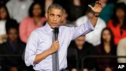Barack Obama habla en la Ivy Tech Community College de Indianápolis.