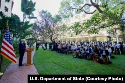U.S. Secretary of State John Kerry holds a news conference in the courtyard at the Raffles Hotel in Phnom Penh, Cambodia, Jan. 26, 2016.