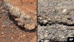La imagen de NASA muestra un afloramiento de rocas marcianas cerca del lugar de aterrizaje del rover Curiosity en un cráter cerca del ecuador de Marte. (AP Photo / NASA