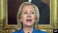 国务卿克林顿在新任驻华大使骆家辉宣誓就职仪式上发表讲话