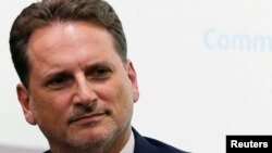 FILE - UNRWA Commissioner General Pierre Krahenbuhl, is seen during a news conference in Cairo, Egypt, Sept. 10, 2018.