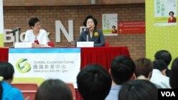 前香港政務司司長陳方安生出席一個政改論壇與大學生對話