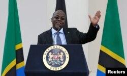 FILE - Tanzania's President John Magufuli addresses a news conference during his official visit to Nairobi, Kenya, Oct. 31, 2016.
