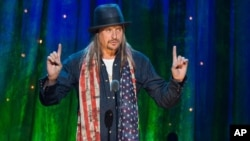 FILE - Kid Rock appears at the 31st Annual Rock and Roll Hall of Fame Induction Ceremony at the Barclays Center in New York, April 8, 2016.