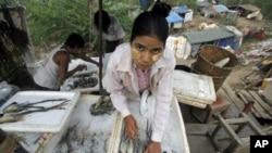 图为一名来自缅甸的移民工去年11月7日在泰国边境的海鲜店工作