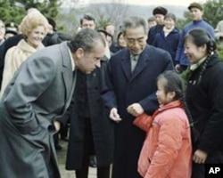 尼克松1972年2月访华期间在杭州西湖公园