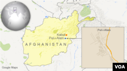 ແຜນທີ່ ເມືອງ Pul-i-Alam ທີ່ເກີດເຫດ ໃນ Afghanistan