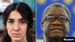 Nadia Murad na Dr. Denis Mukwege begukanya igihembo Nobel cy'amahoro cy'umwaka wa 2018.