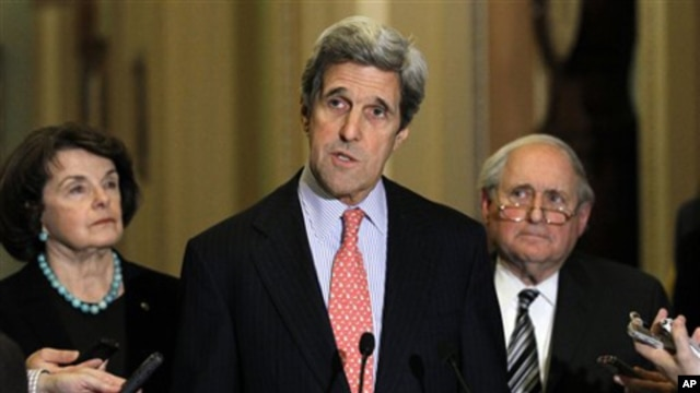 Sen. John Kerry, D-Mass., center, speaks as Sen. Dianne Feinstein, D-Calif., left, Sen. Carl Levin, D-Mich., listen after a closed Senate session in the Old Senate Chamber on Capitol Hill in Washington, Monday, Dec. 20, 2010.