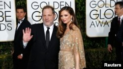 Le producteur Harvey Weinstein et son épouse, la styliste Georgina Chapman, au Golden Globe Awards à Beverly Hills, Californie, 10 janvier 2016.