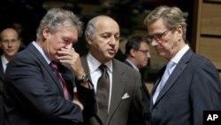 Ministri inostranih poslova Luksemburga, Francuske i Nemačke, Žanb Aselborn, Loran Fabjus i Gvido Vestervele
