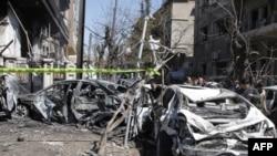 На месте взрыва в Дамаске, 17 марта 2012