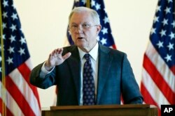 FILE - Attorney General Jeff Sessions speaks to law enforcement officials about transnational organized crime and gang violence at the U.S. Courthouse, Sept. 21, 2017, in Boston.